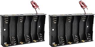 バッテリーホルダー ストレージボックス ブラック プラスチック 2個 6 x 1.5V 9V 単3形電池ホルダーケース