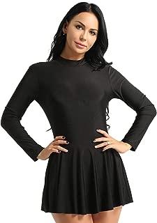 Women's Adult Long Sleeve Lyrical Figure Skating Dress Gymnastics Leotard Dress