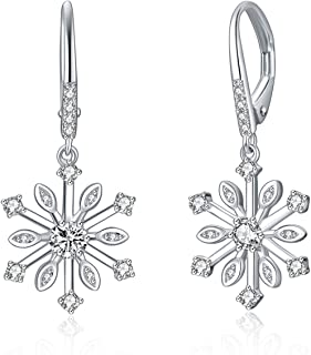 Snowflake Earrings Sterling Silver Cubic Zirconia Leverback Drop Earrings Christmas Jewelry Gifts for Women Teens Birthday