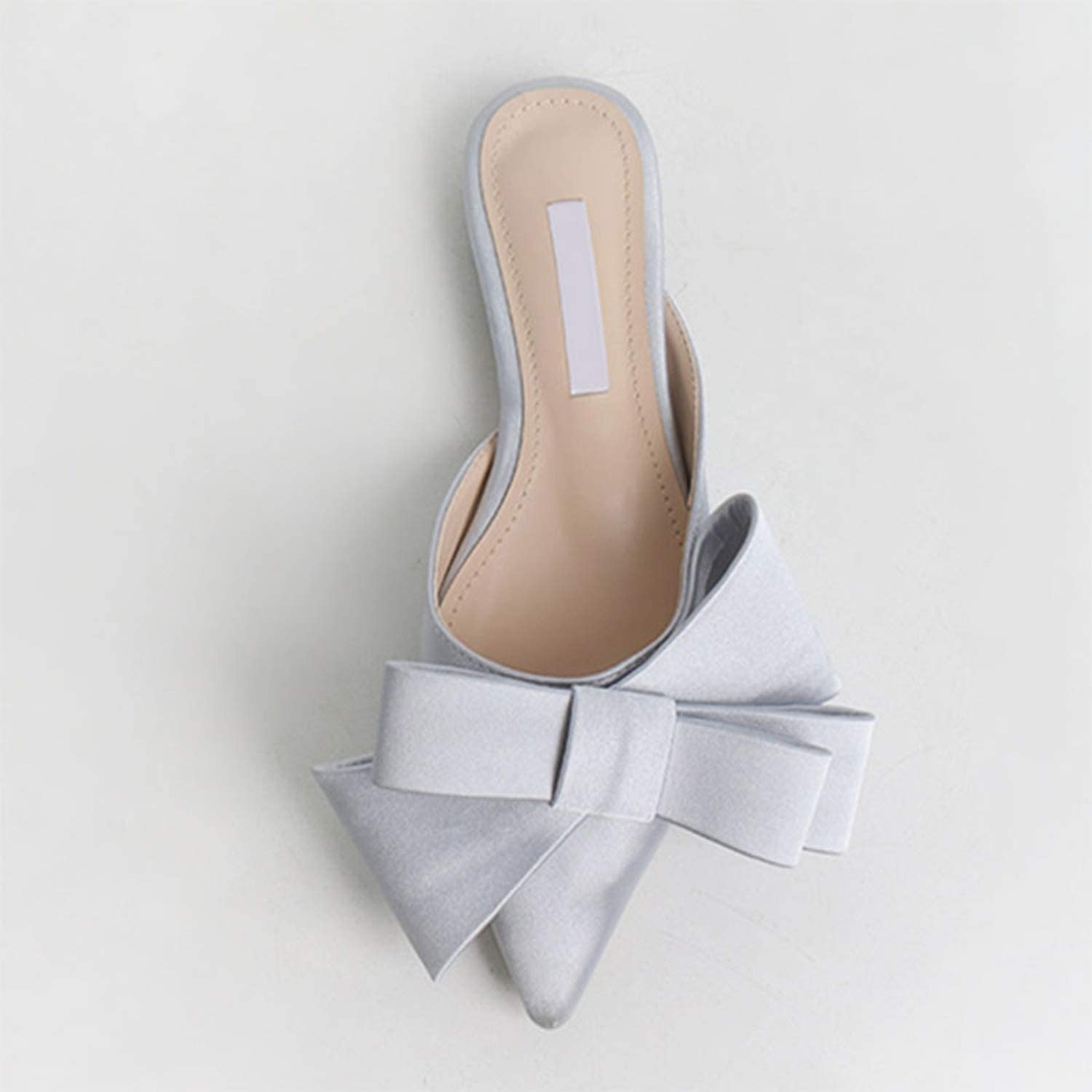 Girl21 Summer Women shoes Silk Satin Pointed Bow Tie Baotou Flat Heel Sets Semi Slippers