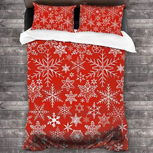 JOJOshop 3-teiliges Tagesdecken-Set mit dekorativen Schneeflocken, Tagesdecke, Überwurf-Set mit verdeckten Eckbändern, Thermo-Bettlaken-Set 226 x 178 cm