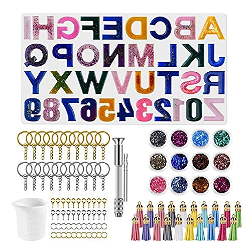 Eachbid Moldes Silicona de Resina,Molde letras de alfabeto,Molde de Resina Epoxi con Número de Letras, Polvo de Purpurina, Herramientas de Epoxi y Accesorios de Metal para llaveros, Kit