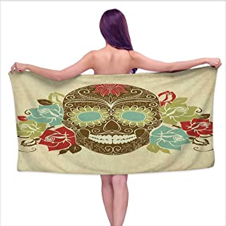 Bath Towel Set Sugar Skull,Skull and Roses Colorful Vintage Composition with Smiling Gothic Face Artistic, Multicolor,W10 xL39 for Bathroom Striped