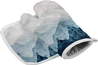 ブルーマウンテンズシルエット水彩画 オーブングローブ電子レンジグローブバーベキューグローブキッチンクッキング焼く耐熱手袋組み合わせ