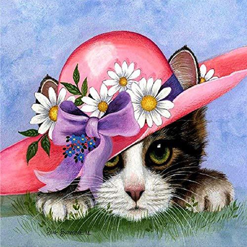 MOL kat van hoed om te knutselen met strass-steentjes en strass-steentjes 40x50cm/16x20in