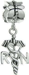 925 Sterling Silver Registered Nurse RN Symbol Dangle for European Charm Bracelets