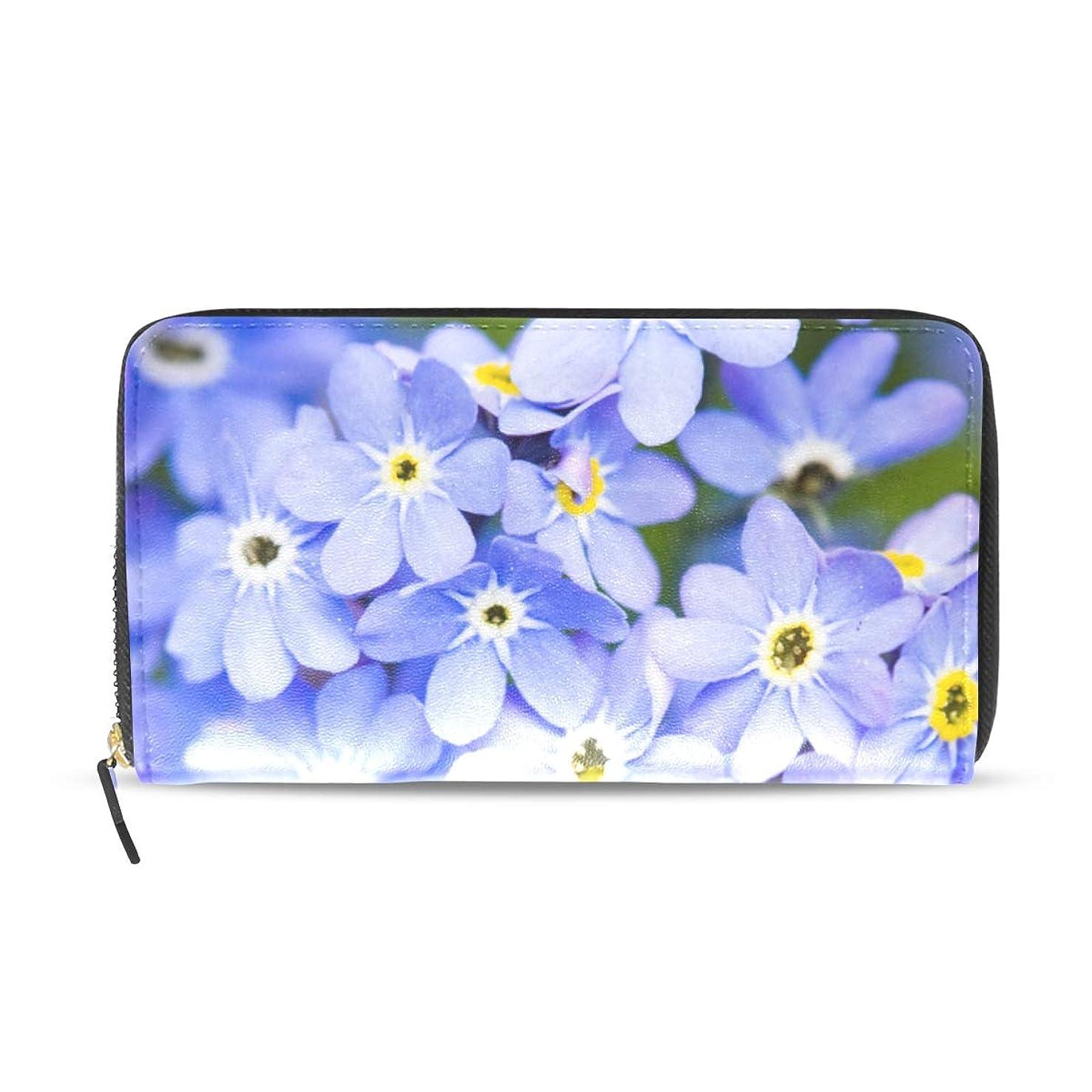 コーン敏感な特異な旅立の店 長財布 人気 レディース メンズ 大容量多機能 二つ折り ラウンドファスナー PUレザー 青い花柄 ウォレット ブラック