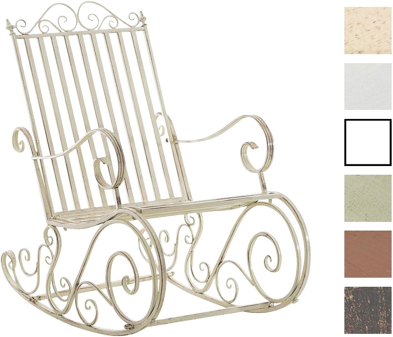 CLP Eisen-Schaukelstuhl SMILLA im Landhausstil I Schwingstuhl mit hoher Rückenlehne I erhltlich Antik Creme
