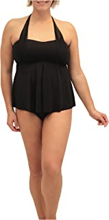 Fit 4 U Womens Plus Size Embroidered Band Square Neck Swim Top