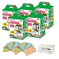 Fujifilm INSTAX Mini Instant Film 10 Pack - 100 SHEETS - (White) For Fujifilm Instax Mini 9 Cameras + Frame Stickers and Microfiber Cloth Accessories