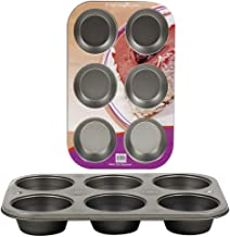 Premium Non-Stick Bakeware Muffin and Cupcake Pan, 6-Cup
