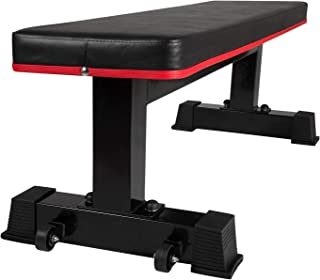 Ollieroo Flat Bench Workout Bench Flat Utility Weight Bench Weight Training Sit Up Bench Strength Training and Abs Exercises (with Wheels)
