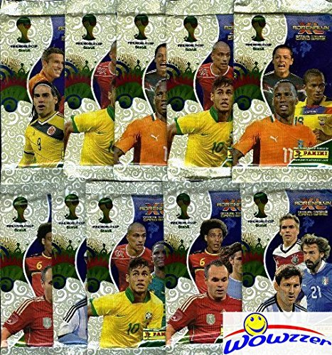 2014 Panini Adrenalyn XL FIFA World Cup Brazil Lot of TEN(10) Factory Sealed Foil Booster Packs with 60 Mint World Cup Card ! Look for Tops Stars including Neymar, Ronaldo, Messi & Many More! WOWZZER!