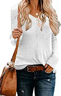 BOOSOULY Womens Long Sleeve V Neck Tunic Top Waffle Knit Loose Pullover Blouses