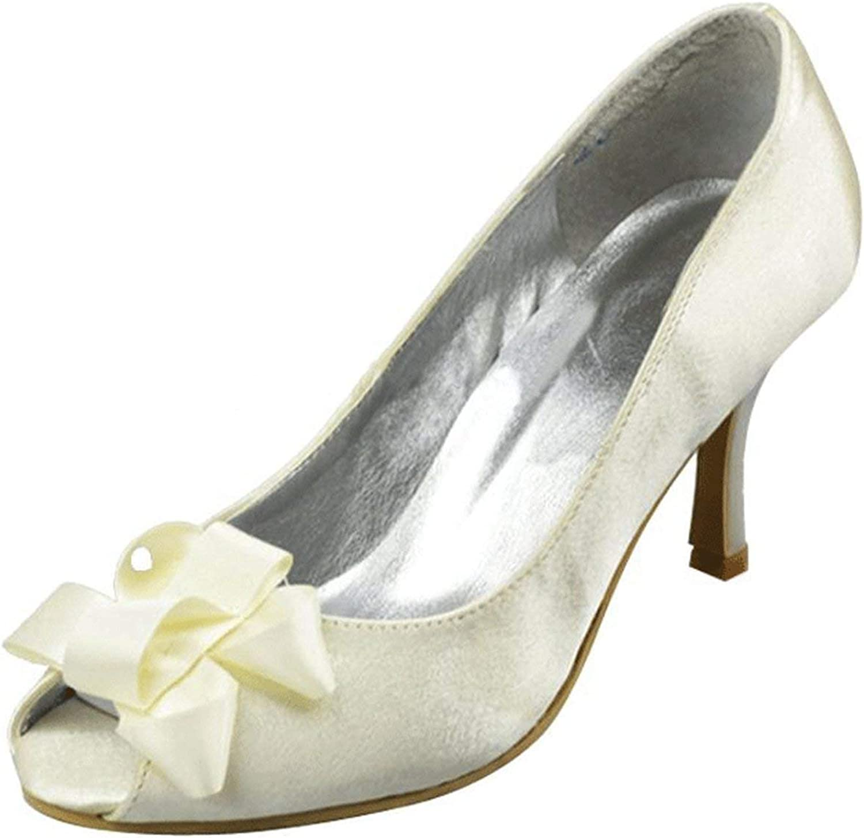 ZHRUI Bogen-Absatz-weiße Abend-Partei-Schuhe der Mädchen-Frauen, die Sandelholze Großbritannien 9 Heiraten (Farbe   -, Größe   -)  | Wirtschaft