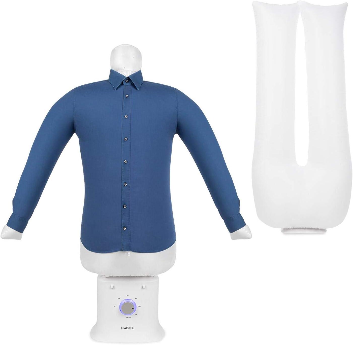 KLARSTEIN ShirtButler Deluxe Secadora y planchadora automática - 2 en 1: Secadora y planchadora, Calentador de Seguridad de 1250 W, tecnología HotAir Tension, Temporizador. Nylon Oxford, Blanco Seda