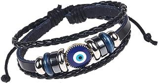 Blue Eye Evil Eye Leather Bracelet for Men Women Beaded Bracelets Cuff Adjustable Blue