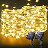 [2 Pack] Guirnaldas Luces Exterior Solar, Litogo Luces Solares Led Exterior Jardin 13m 128 LED 8 Modos Tira Led Solar para Navidad, Terraza, Fiestas, Bodas, Patio, Jardines, Festivales,Habitacion