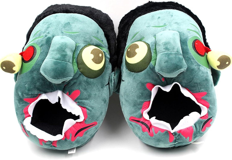 E.a@market Cartoon Creative Zombie Winter Cotton Plush Slippers