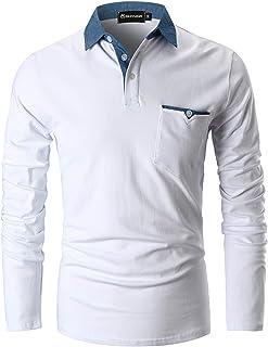 GHYUGR Men's Long Sleeve Polos Contrasting Colors Design Golf T-Shirt Casual Polo Shirts