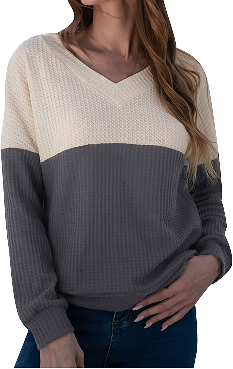 Olivcker Women Off Shoulder Tops Color-Block Pullover Knitting Sweater Long-Sleeved Sexy V-Neck Autumnwinter Blouses