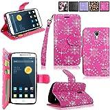 Alcatel Onetouch Pop Astro Case - Cellularvilla Pu Leather Wallet Flip Card Slots Open Pocket Case Cover Pouch For Alcatel onetouch Pop Astro 5042T (Pink Glitter)