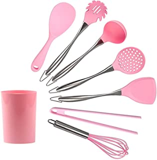 8 heat-resistant non-stick silicone cookware sets, 304 stainless steel handle kitchen utensils, kitchen utensils that can ...