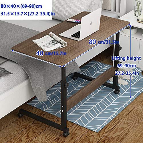 Stahlrohr Pc Tisch Gaming mit Brown MDF,Höhenverstellbare, Abschließbare Rollen,Laptop Schreibtisch Ständer für Zuhause Und Büro, Gut Gebaut Und Sehr Robust