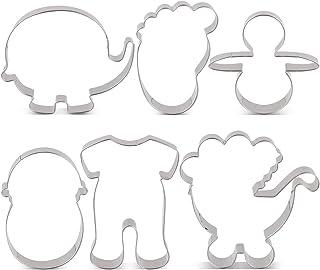KENIAO KENIAO Keksausstecher Set Babyparty Fondant Ausstechformen für Kinder - 6 Stück - Pyjama, Kinderwagen, Elefant, Eingewickeltes Baby, Fußabdruck und Schnuller Ausstecher - Edelstahl
