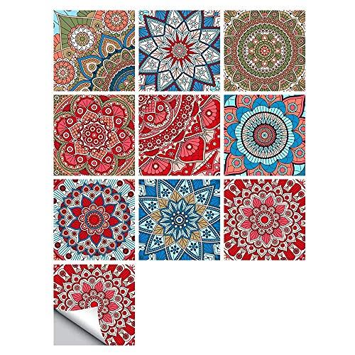 Pegatinas para Azulejos, Autoadhesivas, Impermeables, marroquíes, para Cocina, baño, Suelo, azulejo, Adhesivo, Mosaico, Estilo Rojo, Azulejos, transferencias para decoración del hogar