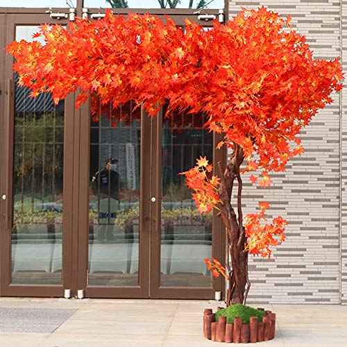 Red Hot Plants Artificial Blossom Tree, Simulation Red Maple Tree Nearly Natural Artificial Hanging Silk Flowers Garland Simulation Tree Indoor Outdoor Wall Decor,B,150x180cm