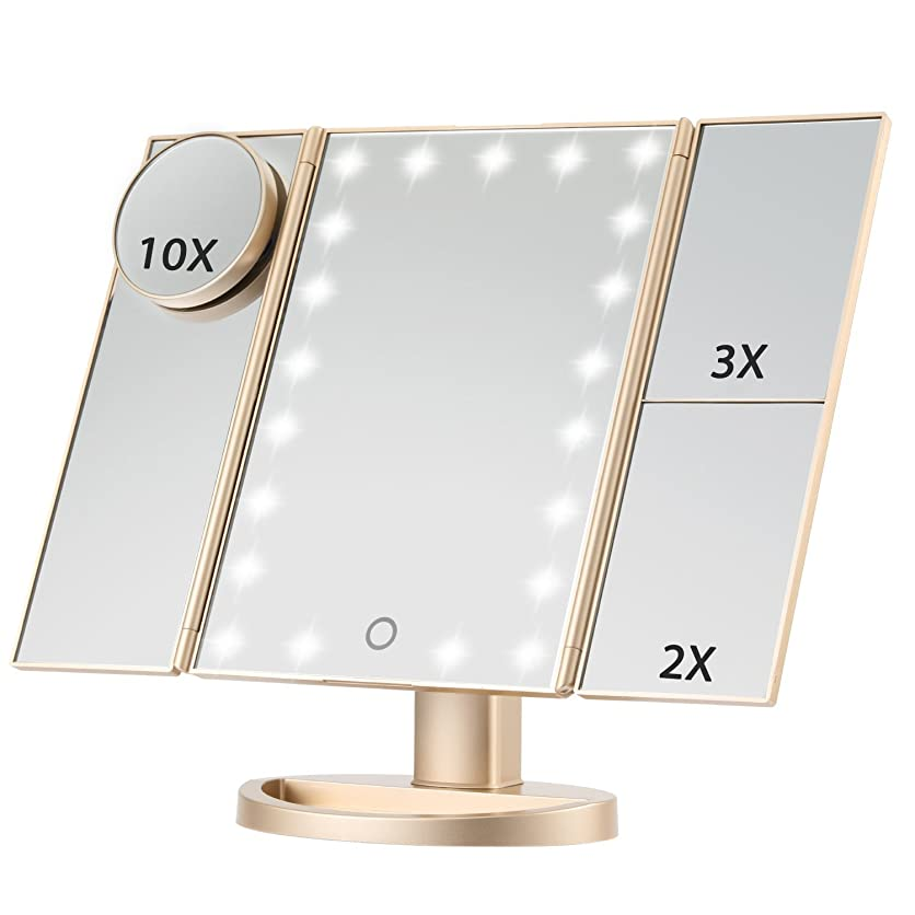 おばさんインタビューアーネストシャクルトンMagicfly 化粧鏡 LED三面鏡 ミラー 折り畳み式 10X /3X/2X拡大鏡付き 明るさ調節可能180°回転 電池/USB 2WAY給電 (ゴルード)