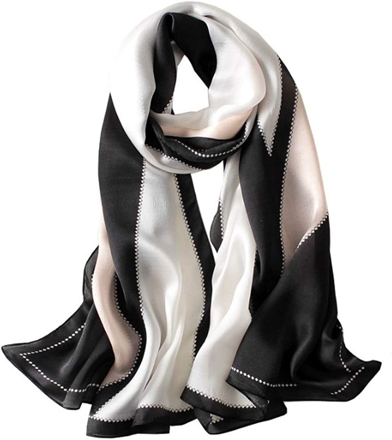CEFULTY MultiFunctional Silk Scarf Rectangle Large Size Seaside Sunscreen Shawl (color   Black)