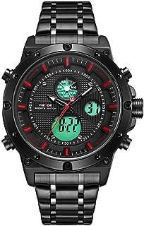WH6906 شاشة مزدوجة بحركتين كوارتز رقمية للرجال ساعة 3ATM مقاومة للماء LCD الخلفية مضيئة الرياضة المنطقة الزمنية المزدوجة ت...