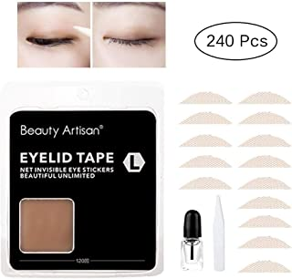 Double Eyelid Tape, 240PCS Medical Fiber Ultra Invisible Two Side Sticky Eyelid Stickers With Glue & Tweezers, Breathable Lace Eyelid Patch Lift Strip For Hooded, Droopy, Uneven, Mono-eyelids