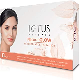 Lotus Natural Glow Facial Kit for natural-looking glowing skin, with 5 easy steps, 50g (Single use)