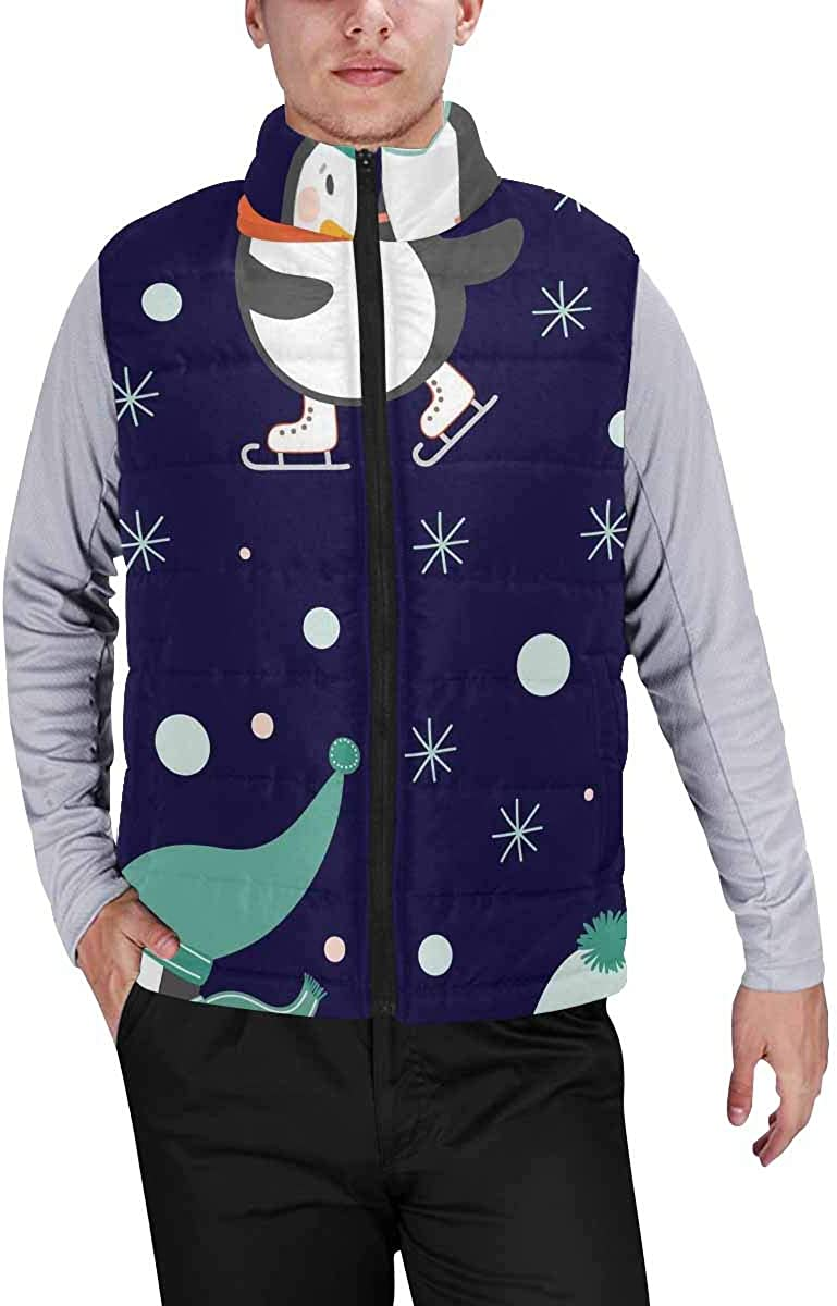 InterestPrint Men's Outdoor Casual Stand Collar Padded Vest Coats Winter Pattern with Penguins 349389203 XXL