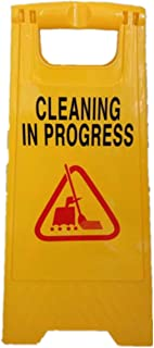 Caution Cleaning in Progress Double Side Sign Warning Board Bright Yellow Plastic
