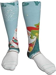 TongGuYunShangMaoYouXianGongSi, Calcetines Altos Calcetín Papá Noel y renos con muñeco de nieve Calcetines 50CM