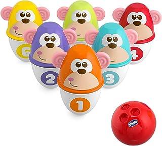 Chicco Bowling de la Jungle, Jeu de Quilles pour Bébé - avec 6 Quilles Séparables, Empilables en 12 Morceaux, Boule Lumine...