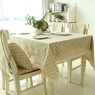 Manteles de lino y algodón rectangulares para mesa, estilo simple, multiusos, para interiores y exteriores, Cafe Chrysanthemum, 55'' Wide*80'' Length (140*203 CM)