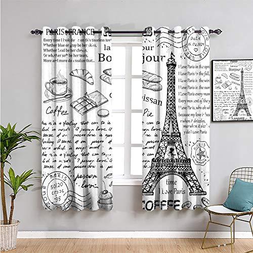 Paris Wohnzimmer Verdunkelungsvorhänge, Vorhänge 114,3 cm Länge, traditionell berühmte Pariser Elemente, Bonjour Croissan Kaffee Eiffelturm Druck, 2 Paneel-Sets Schwarz Weiß B 60 x L 114,3 cm