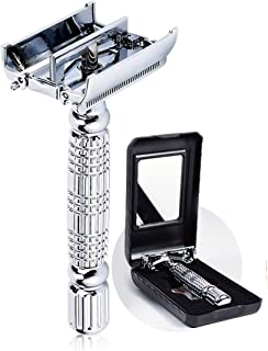 BAILI Classic Butterfly TTO Double Edge Safety Razor Shaver Kit for Men Women with 1 Swedish Platinum Blade 1 Mirrored Travel Case, Silver, BD179