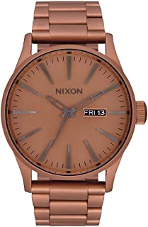 NIXON Sentry SS A375 - Matte Copper/Gunmetal - 119M Water Resistant Men's Analog Classic Watch (42mm Watch Face 23mm-20mm Stainless Steel Band)