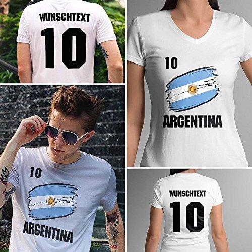 Argentina | Argentinien | Männer oder Frauen Trikot T - Shirt mit Wunsch Nummer + Wunsch Name | WM 2018 T-Shirt