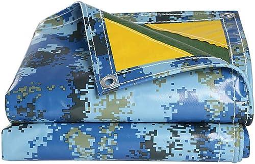 Bache De Prougeection Imperméable,Bleu Camouflage De plein air Poids léger Toile Camping Bache de tente avec Oeillets (taille   6  12m)