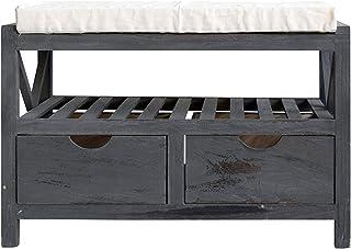 Rebecca Mobili Banco con 2 cajones y estantería, asiento auxiliar de entrada, color gris, estilo shabby chic vintage, dormitorio baño - Medidas: 43 x 65 x 34 cm ( AxANxF) - Art. RE4551