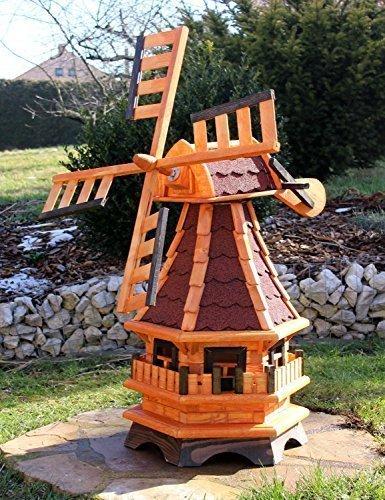 Windmühlen, Windmühle Holz mit Solarbeleuchtung LED 17(klein, Rot)