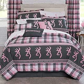 Browning Buckmark Pink Plaid Full Size Comforter Set