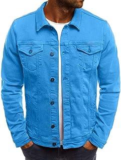 UJUNAORTOP Men's Autumn Winter Button Solid Color Vintage Denim Jacket Tops Blouse Coat